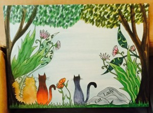 Colorful Cats with Flowers print