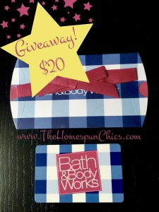 Giveaway! $20 Bath and Body Works Gift Card!