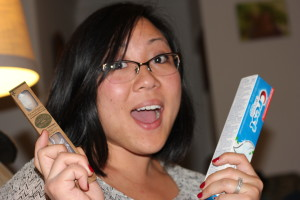 Sarah loves her some dental hygiene!