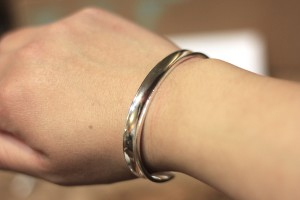 Bangle bracelet without hair tie