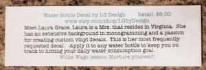 LG Design Water Bottle Decal info sheet
