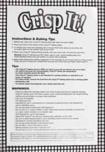 Crisp It! instruction sheet