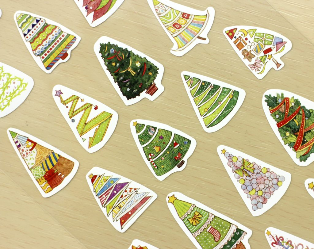 Stickii Club christmas tree stickers close-up