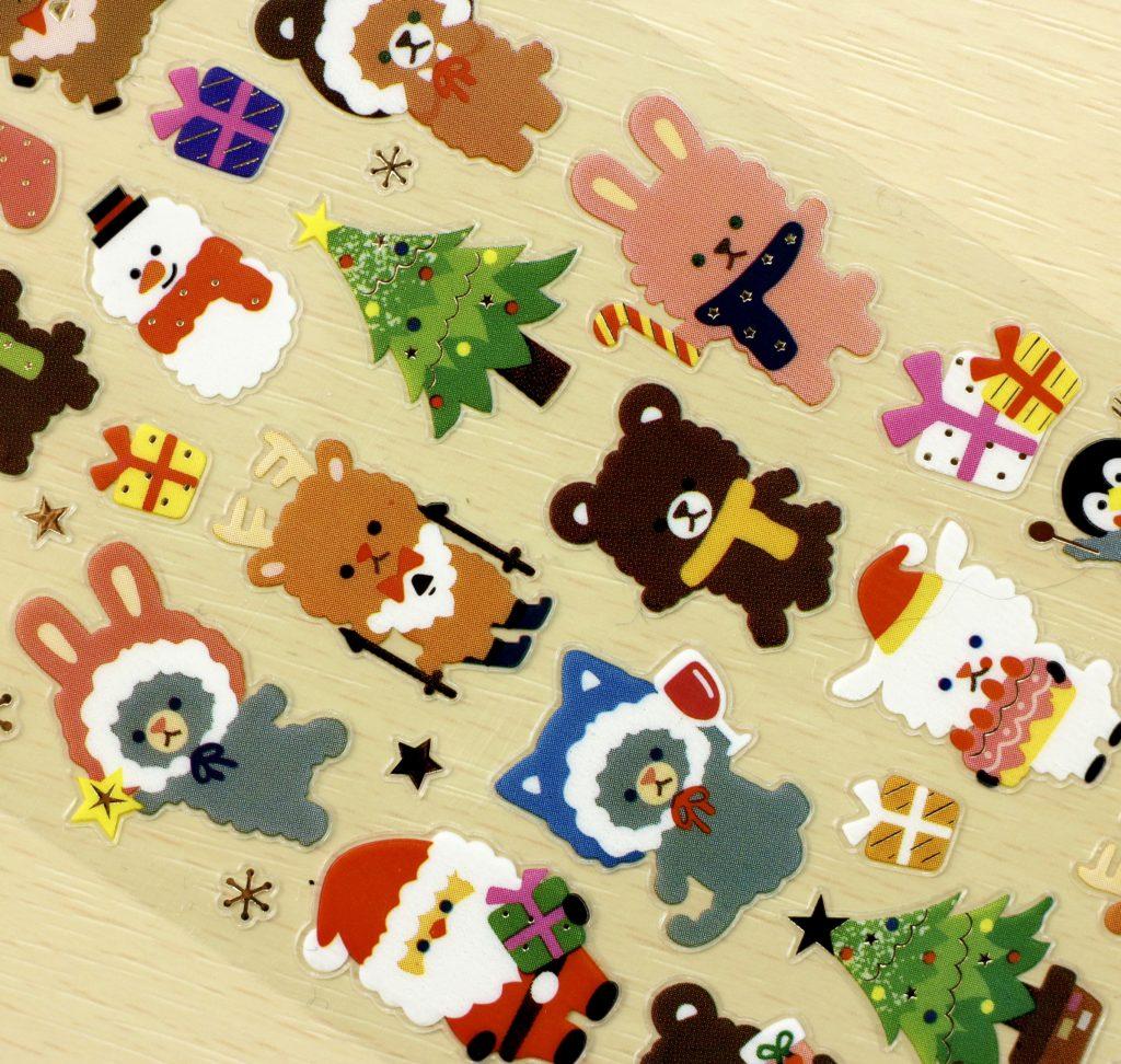 Stickii Club Christmas animal stickers close-up